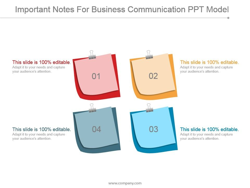 Important Notes For Business Communication Ppt Model | Presentation