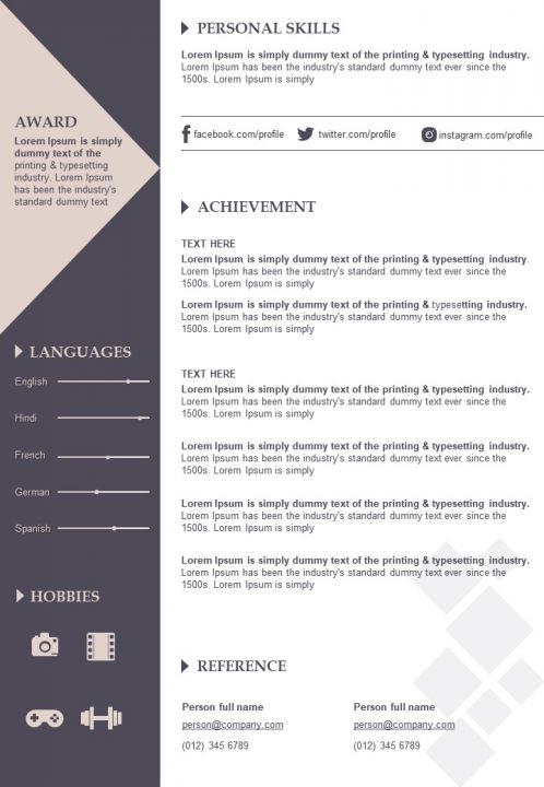impressive cv resume sample editable powerpoint template