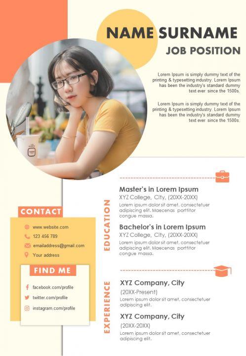 Impressive Resume CV Design A4 Template For Professionals