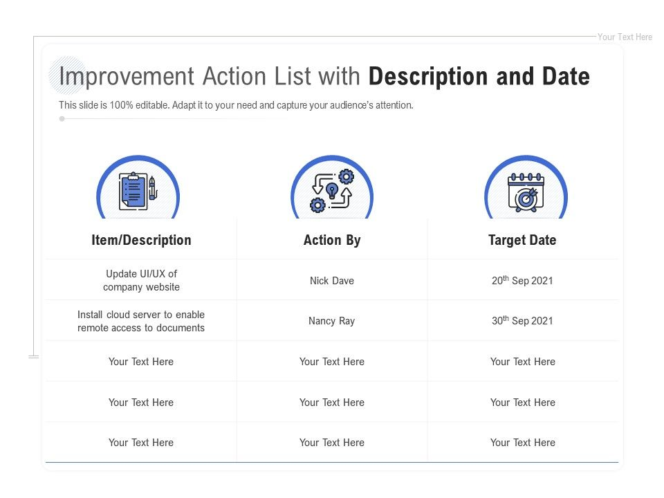 Improvement Action List With Description And Date