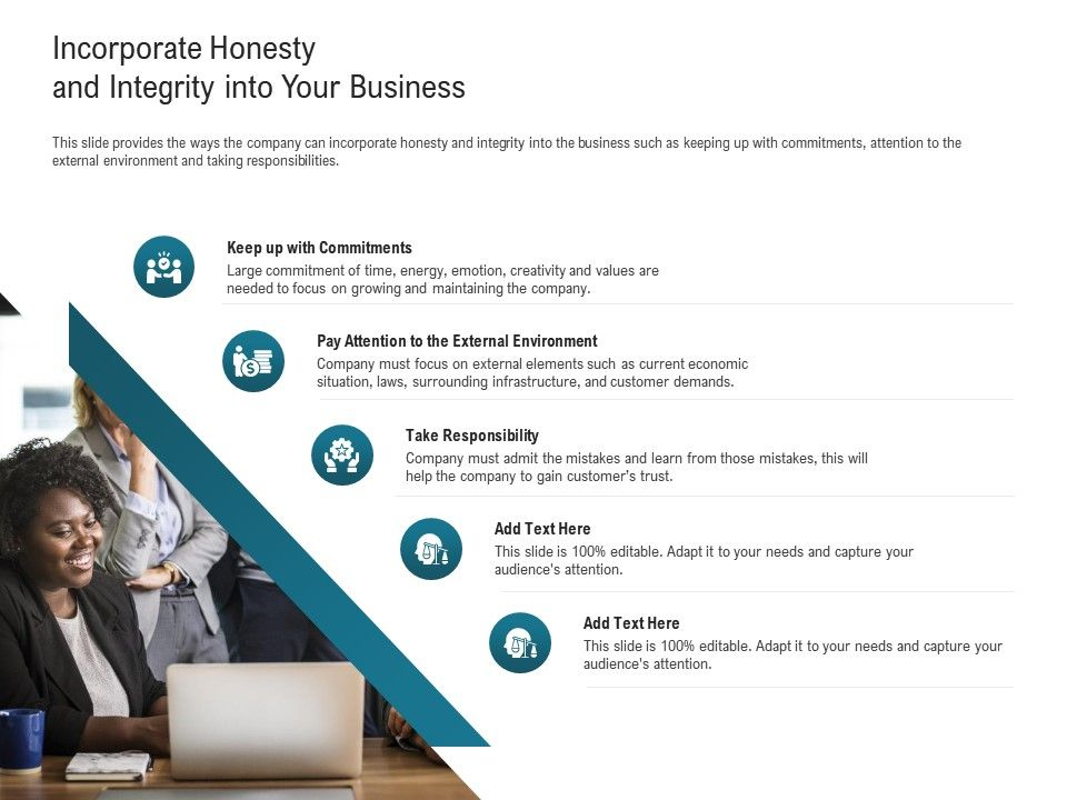 Incorporate Honesty And Integrity Into Your Business Learn Ppt Powerpoint Presentation Outline Example File