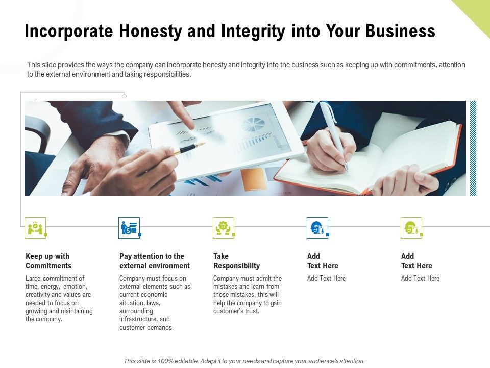 Incorporate Honesty And Integrity Into Your Business Ppt Presentation Rules
