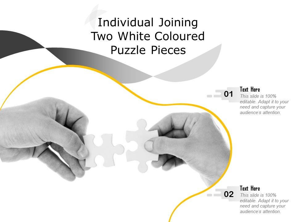 Individual Joining Two White Coloured Puzzle Pieces
