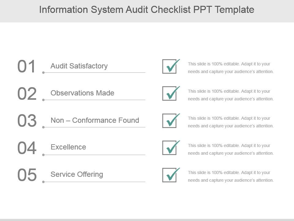 Information System Audit Checklist Ppt Template Presentation