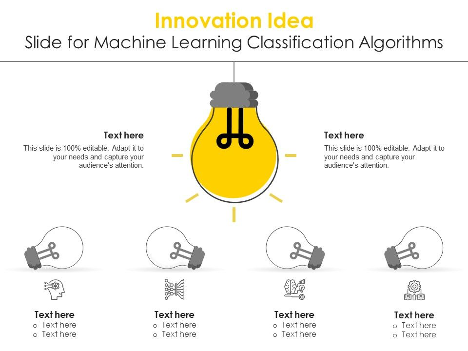 Innovation Idea Slide For Machine Learning Classification Algorithms Infographic Template