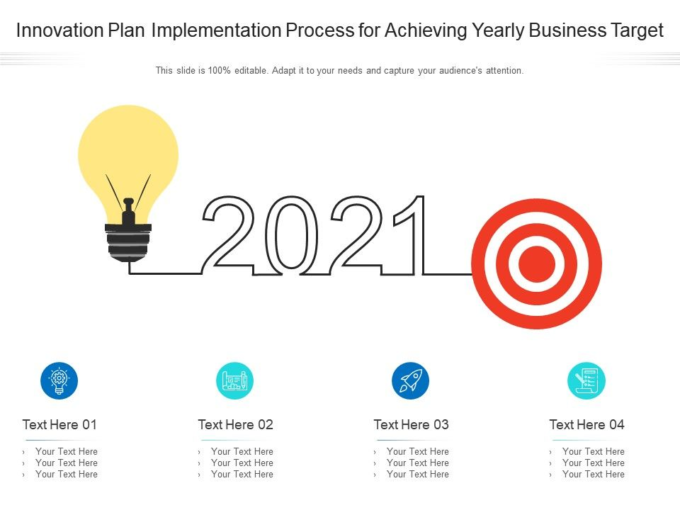 Innovation Plan Implementation Process For Achieving Yearly Business Infographic Template