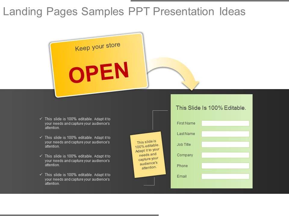 Innovative Landing Pages Samples Ppt Presentation Ideas