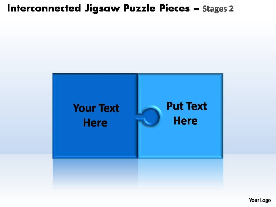 Interconnected Jigsaw Puzzle Pieces Stages 2 Powerpoint Templates Slide01 Slide02