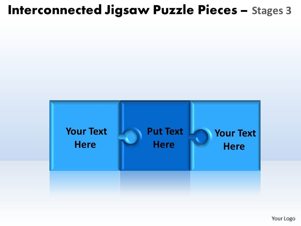 Interconnected Jigsaw Puzzle Pieces Stages 3 Powerpoint Templates Slide01 Slide02