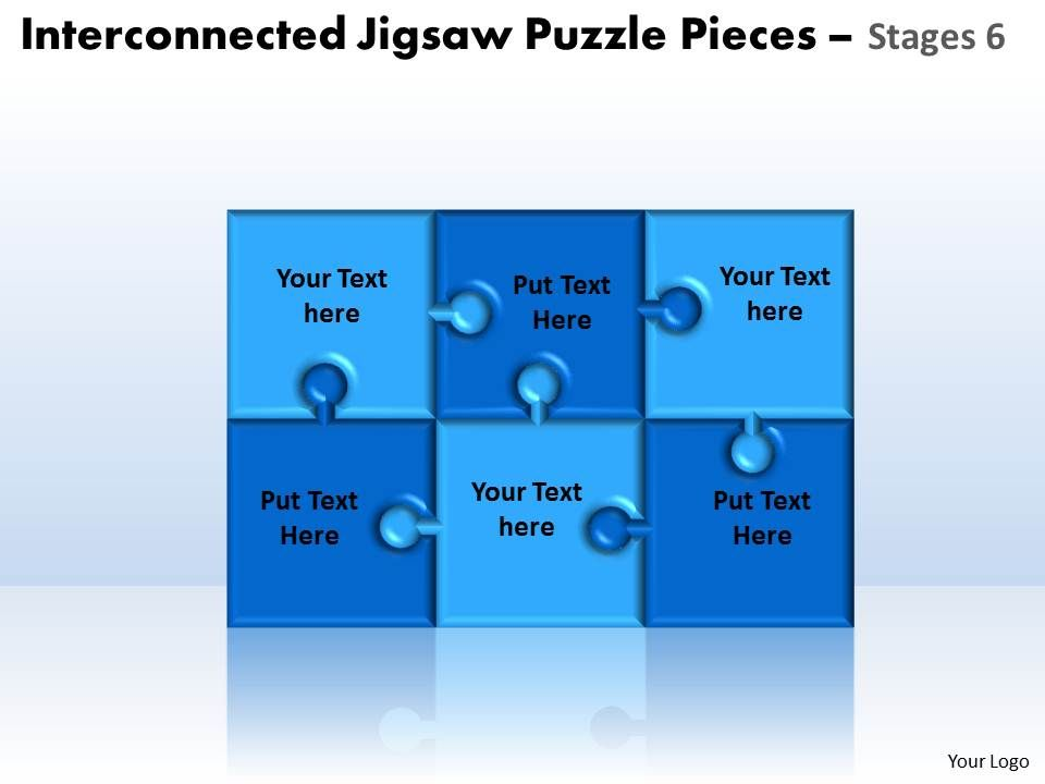 Interconnected Jigsaw Puzzle Pieces Stages 6 Powerpoint Templates