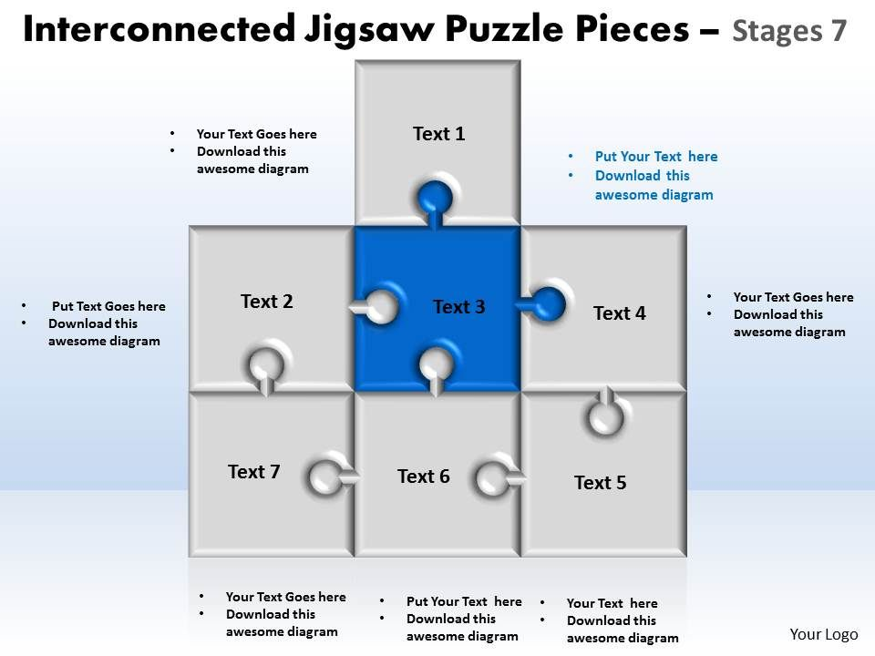 Interconnected Jigsaw Puzzle Pieces Stages 7 Powerpoint Templates
