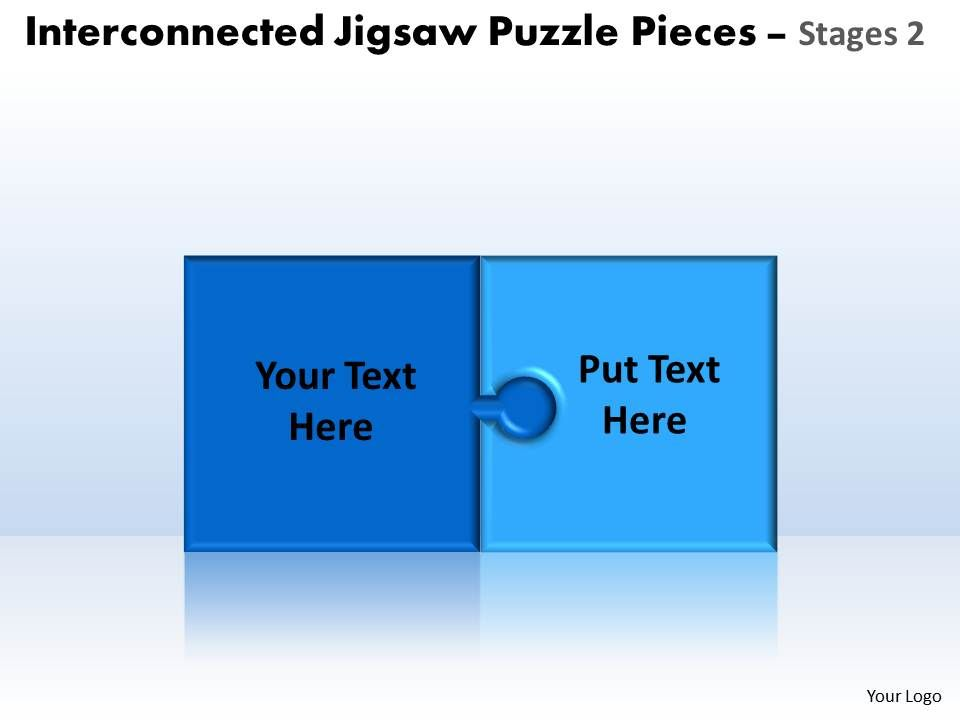 Interconnected Jigsaw Puzzle Pieces Tages 2 Powerpoint Templates