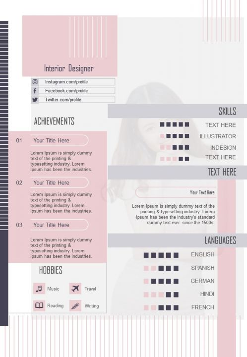 Interior Designer Curriculum Vitae Template With Achievements And Skills Presentation Graphics Presentation Powerpoint Example Slide Templates