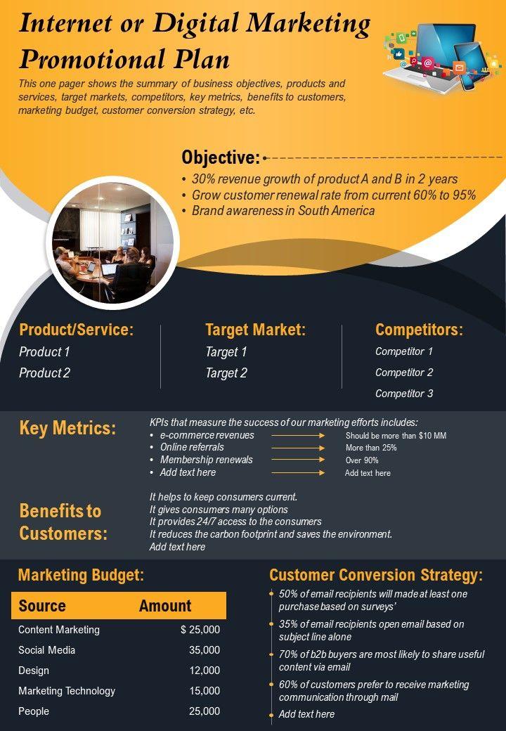 Internet Or Digital Marketing Promotional Plan Presentation Report PPT PDF Document