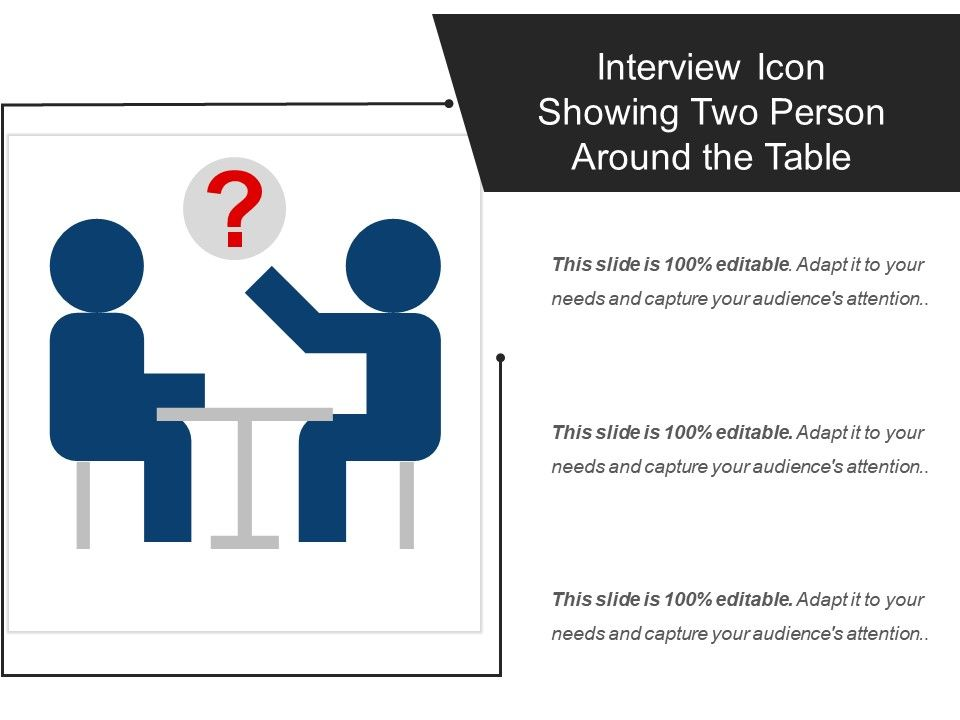 interview icon showing two person around the table powerpoint
