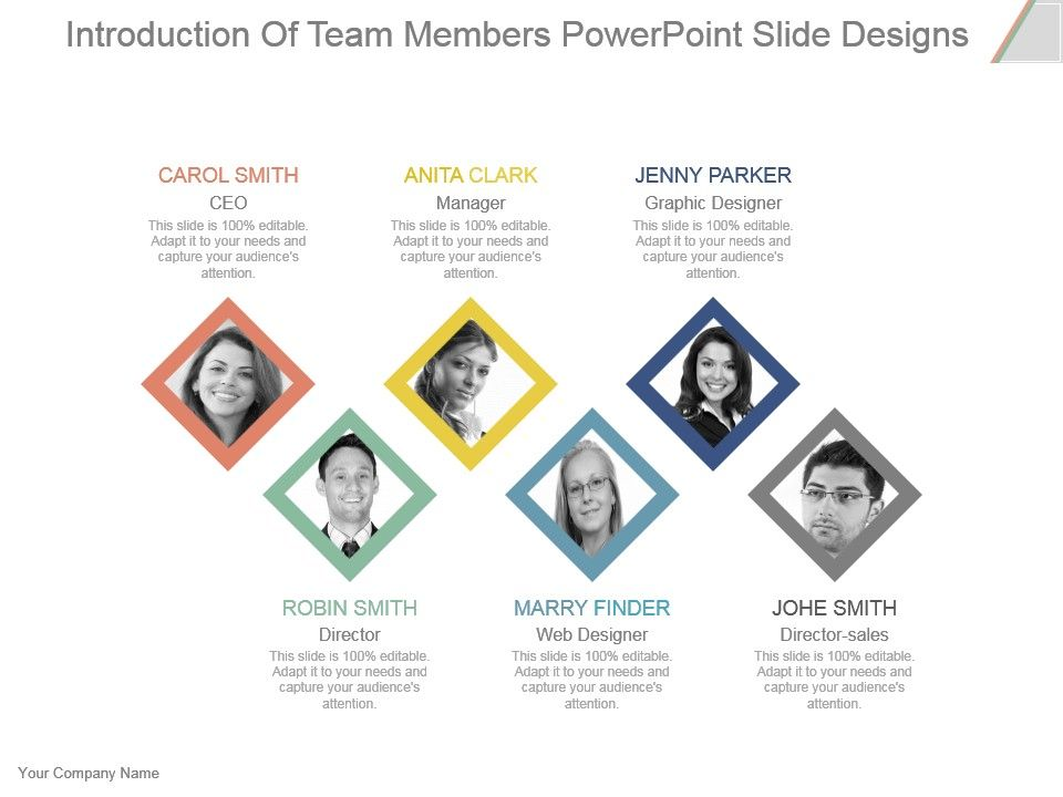 Introduction Of Team Members Powerpoint Slide Designs