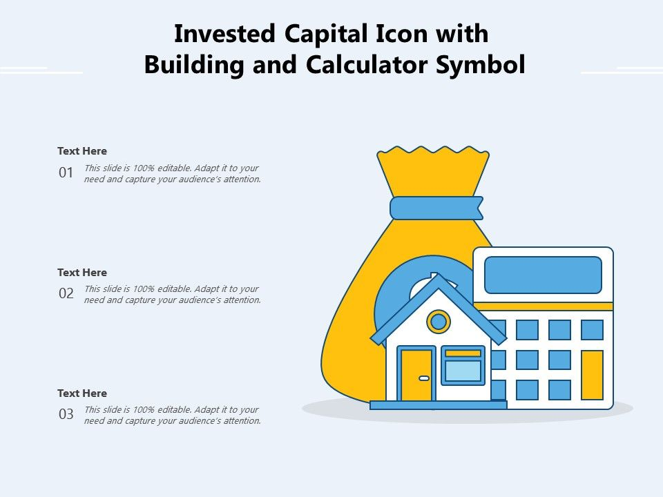 Invested Capital Icon With Building And Calculator Symbol