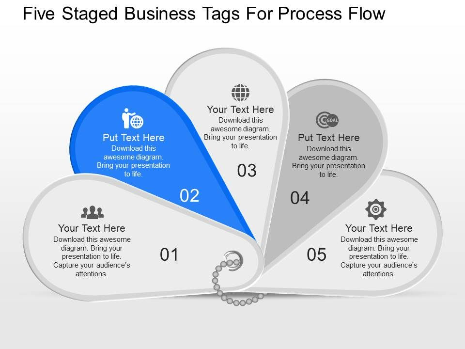 Iq Five Sequential Tags And Icons For Process Flow Powerpoint