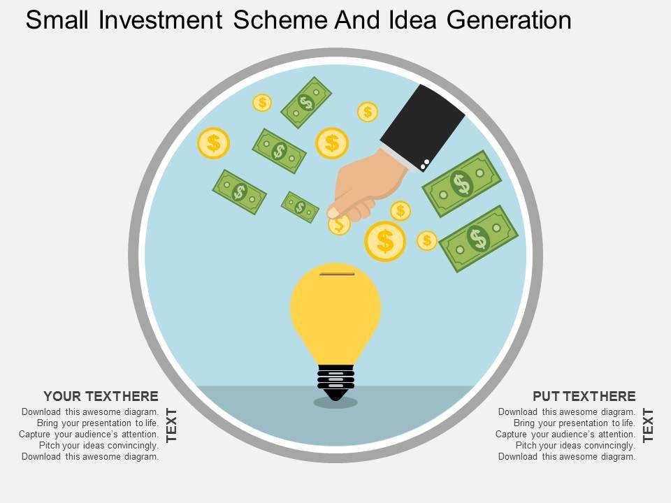It Small Investment Scheme And Idea Generation Flat Powerpoint - Unique cool powerpoint presentation ideas scheme