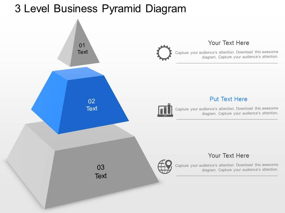 Ja 3 Level Business Pyramid Diagram Powerpoint Template | Graphics