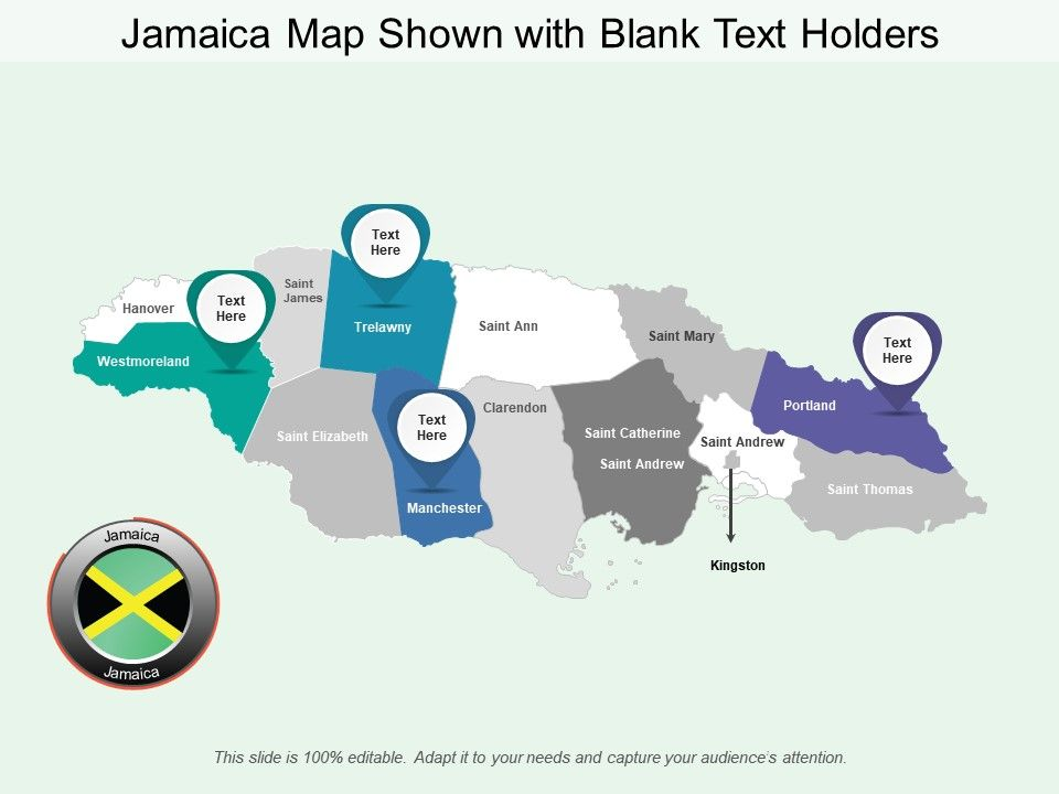 Jamaica Map Shown With Blank Text Holders | PowerPoint ...