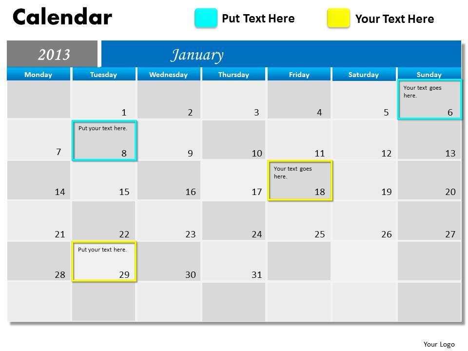 january_2013_calendar_powerpoint_slides_ppt_templates_Slide01