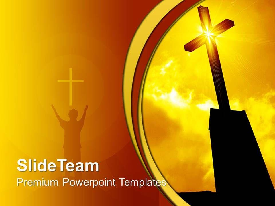 Jesus Christ Bible Powerpoint Templates Religious Cross Sunrise Sunset Chart Ppt Slides Slide01
