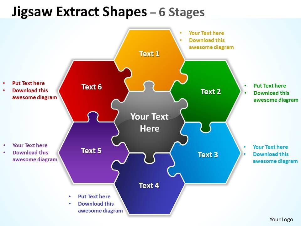Jigsaw extract shapes 6 stages powerpoint diagrams presentation jigsaw extract diagram shapes 6 ccuart Gallery