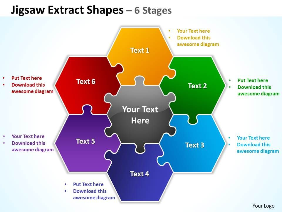 jigsaw extract shapes 6 stages powerpoint diagrams presentation