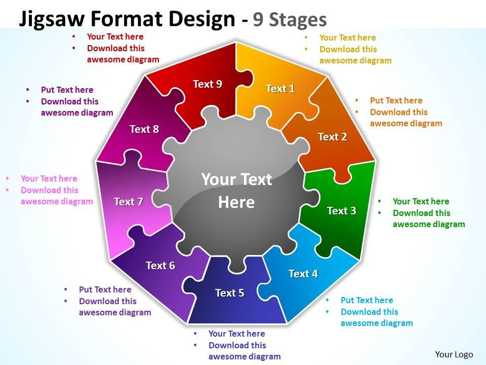 93193909 style division pie-puzzle 9 piece powerpoint template, Presentation templates