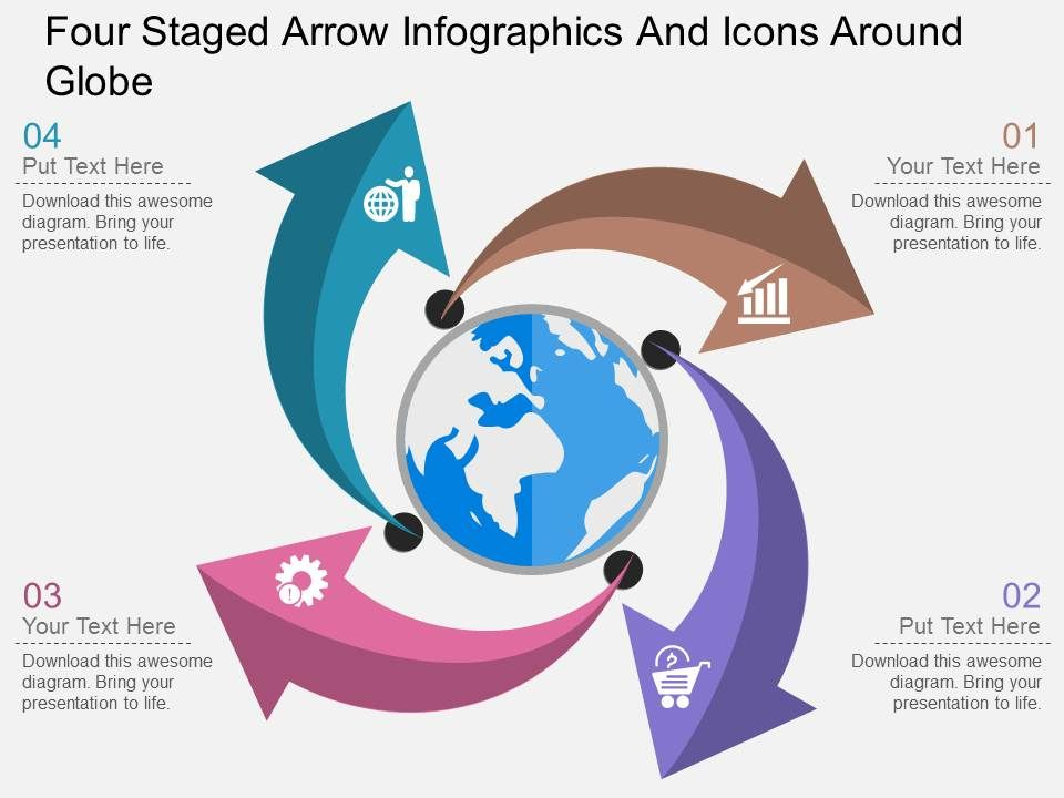 jo_four_staged_arrow_infographics_and_icons_around_globe_flat_powerpoint_design_Slide01