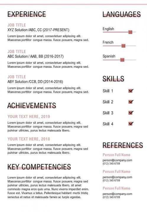 Job Application Sample Cv Template Presentation Graphics