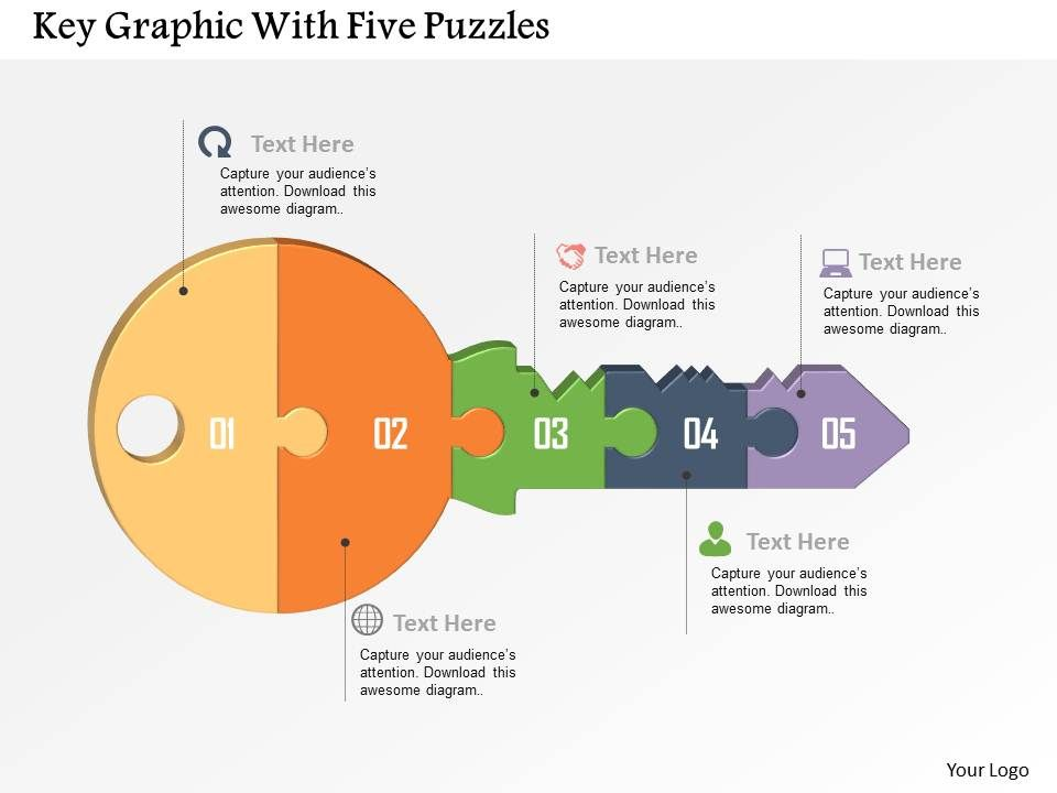 key graphic with five puzzles powerpoint template graphics