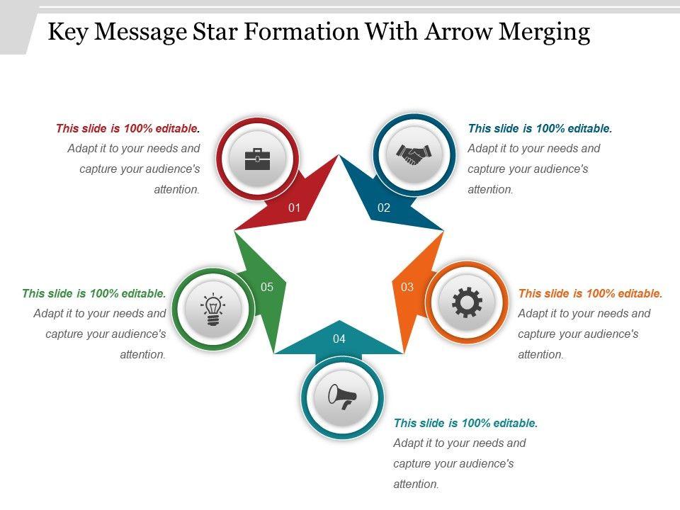 key_message_star_formation_with_arrow_merging_ppt_design_Slide01