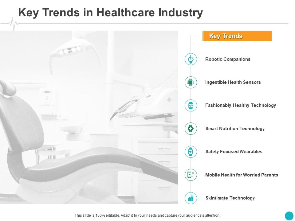 key trends in healthcare industry technology ppt powerpoint presentation styles design ideas slide01