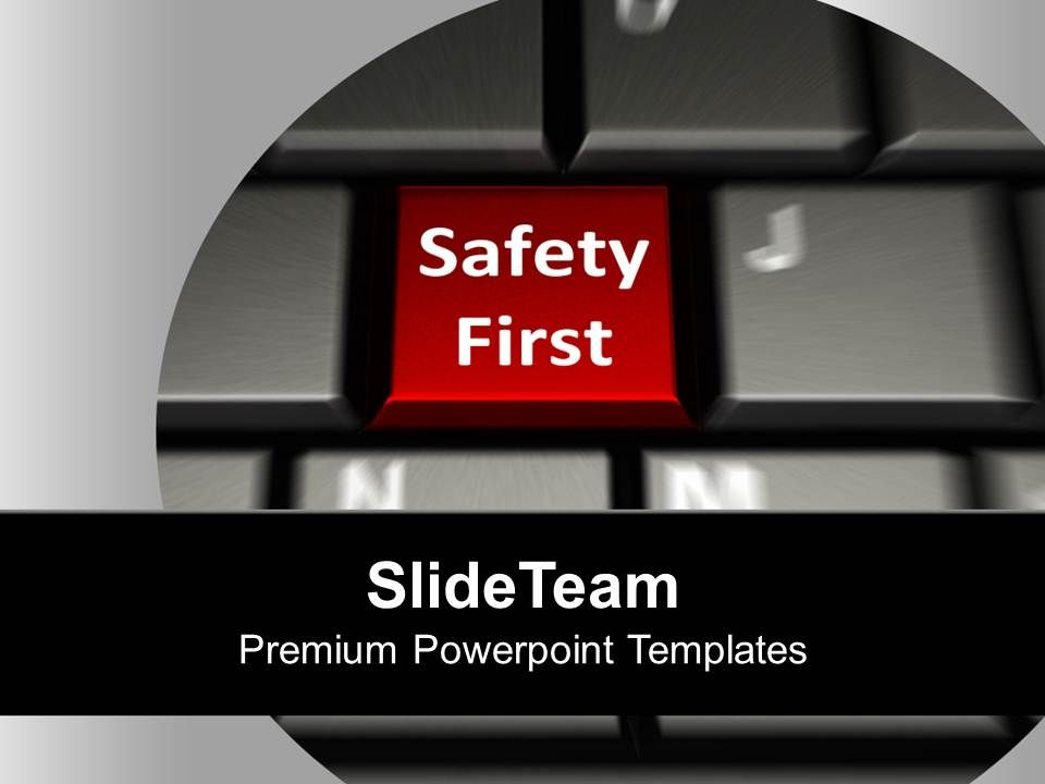 keyboard with safety first security powerpoint templates ppt