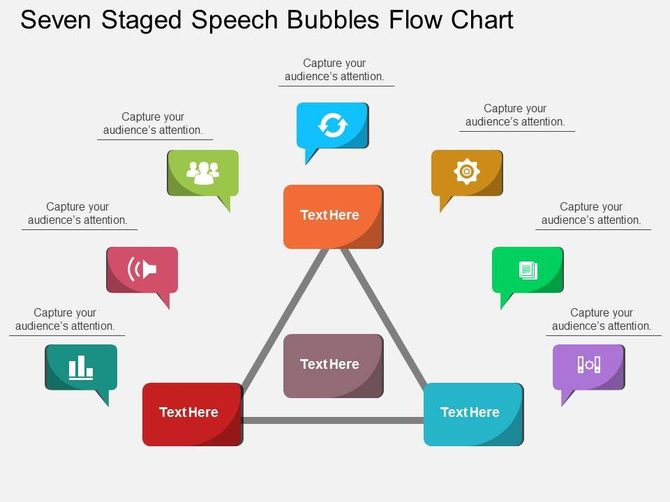Kk Seven Staged Speech Bubbles Flow Chart Flat Powerpoint