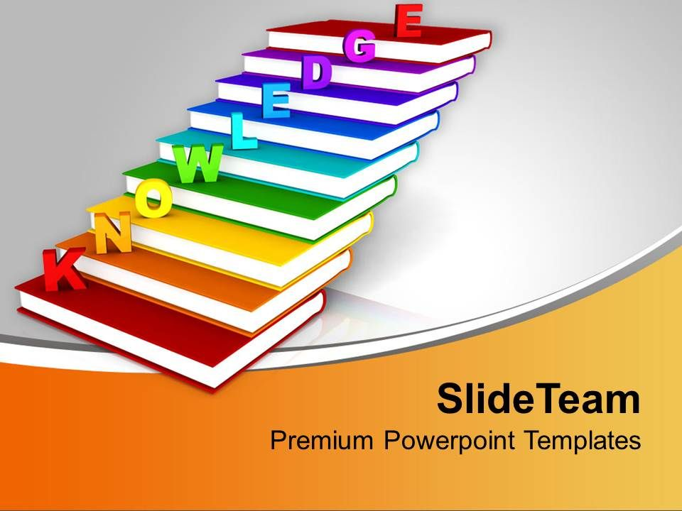 knowledge on books as staircase education powerpoint templates ppt