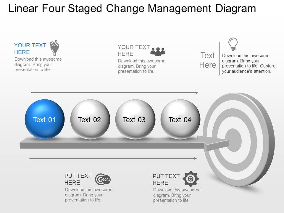 kt Linear Four Staged Change Management Diagram Powerpoint Template ...