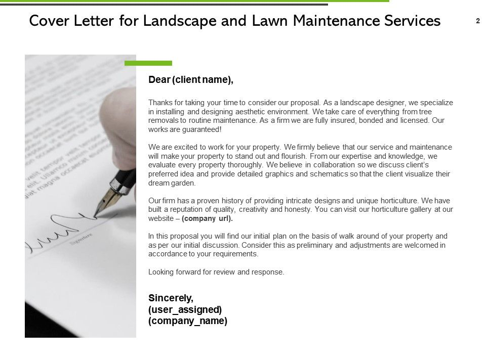 Landscape And Lawn Maintenance Services Proposal Powerpoint