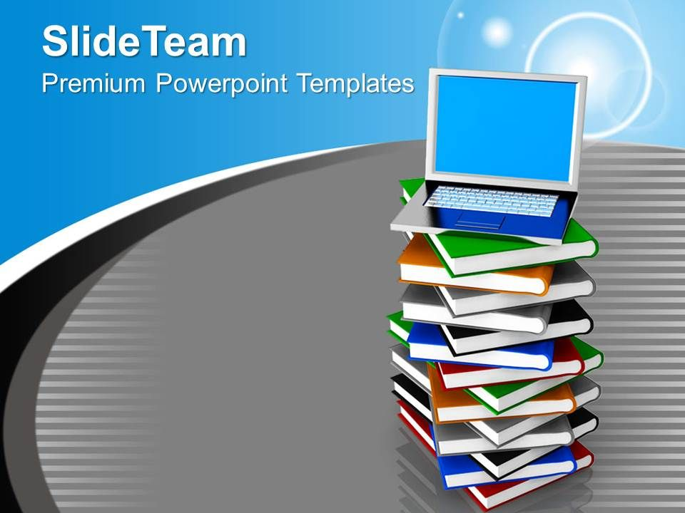 Laptop On Pile Of Books Education Powerpoint Templates Ppt Themes