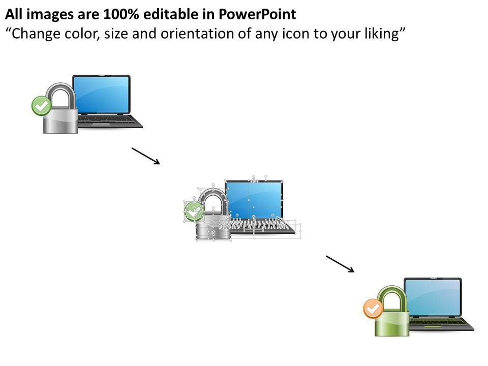 laptop with lock for internet security ppt slides | powerpoint, Powerpoint templates