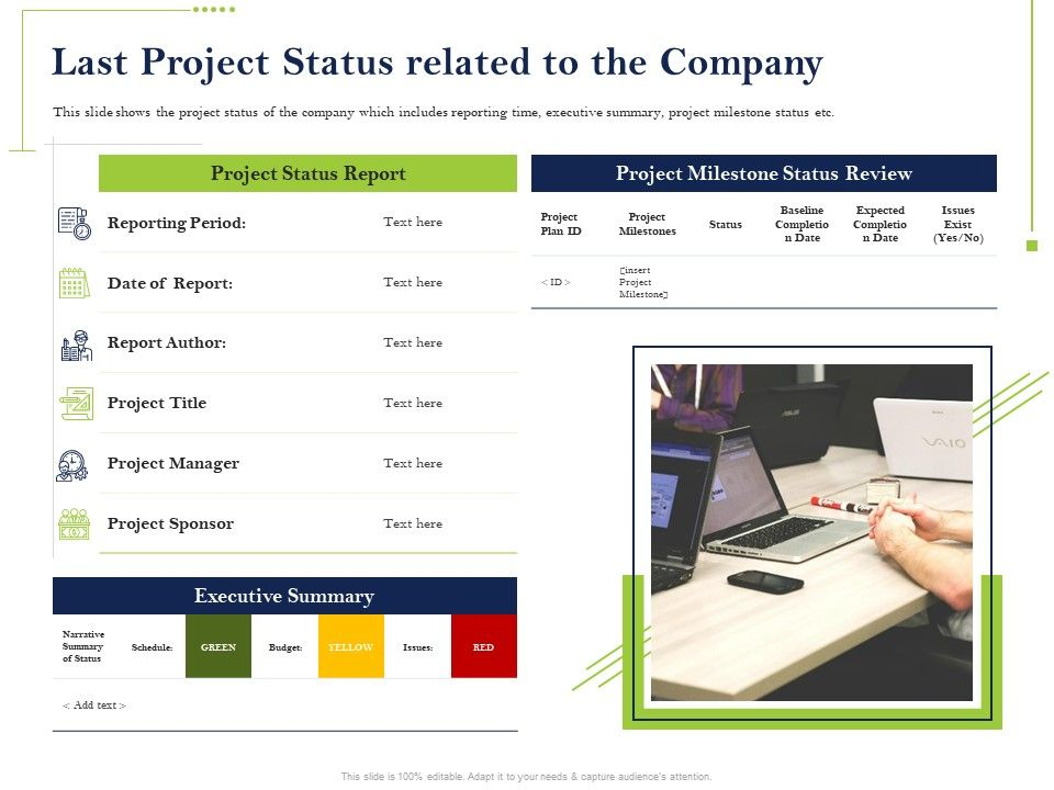 Last Project Status Related To The Company Summary Powerpoint Presentation Ideas