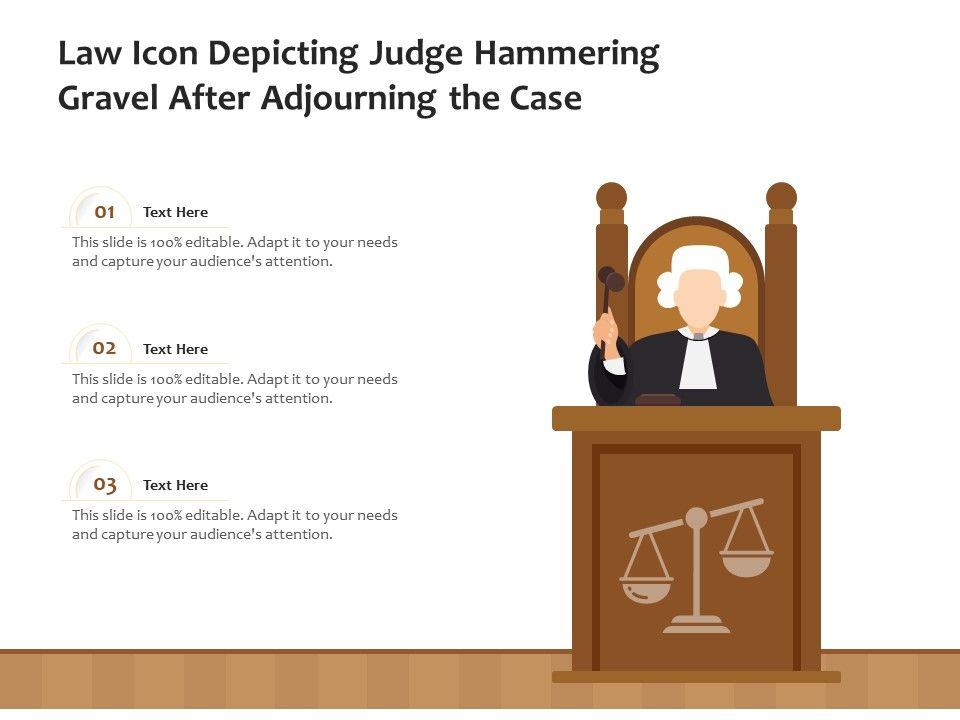 Law Icon Depicting Judge Hammering Gravel After Adjourning The Case