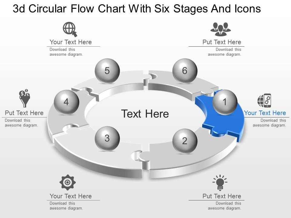 Lc 3D Circular Flow Chart With Six Stages And Icons Powerpoint