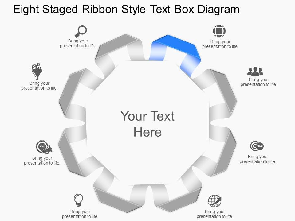 Le Eight Staged Ribbon Style Text Box Diagram Point Template Slide01 Slide02