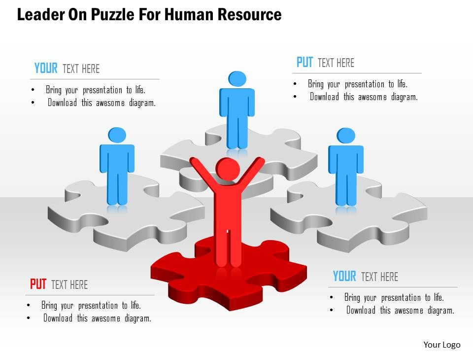 leader on puzzle for human resource powerpoint template | template, Powerpoint templates