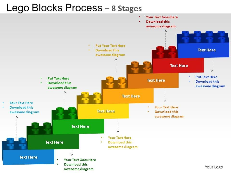Lego Blocks Flowchart Process Diagram 8 Stages Powerpoint Slides And ...