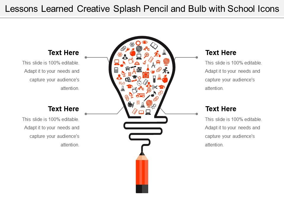 Lessons Learned Creative Splash Pencil And Bulb With School Icons