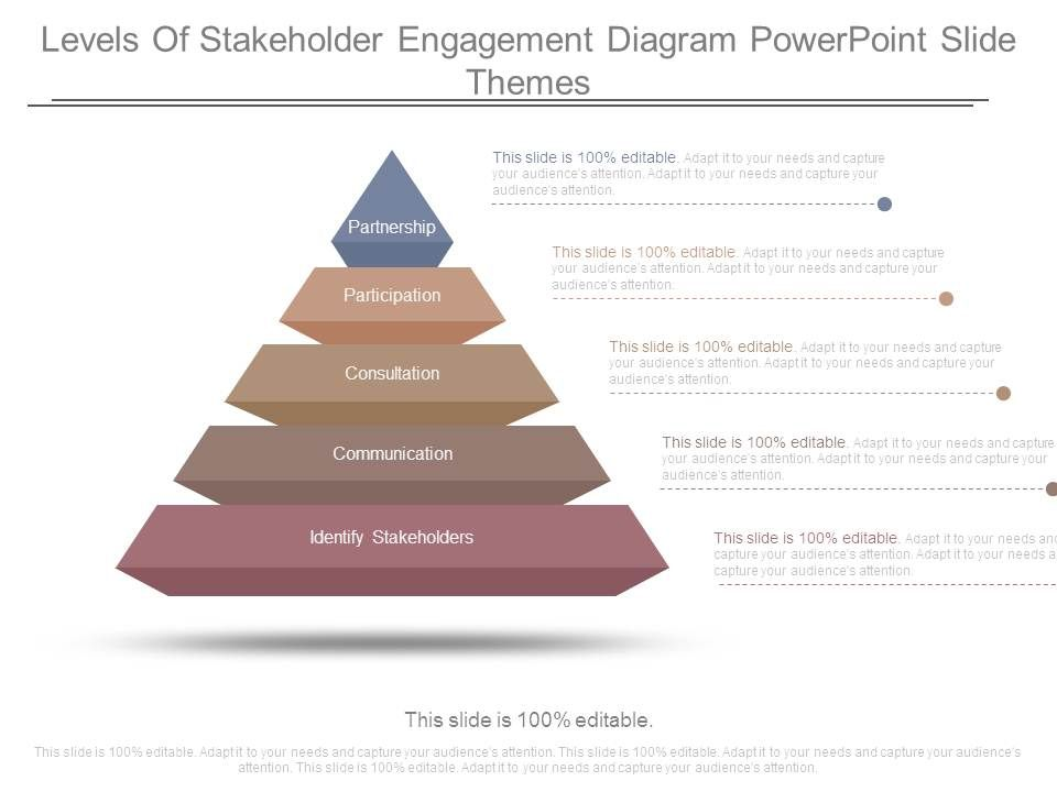 levels of stakeholder engagement diagram powerpoint slide